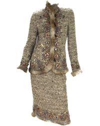 Oscar de la Renta Vintage Runway Campaign Studded Fur Trim Boucle Skirt Suit 6 - Brown