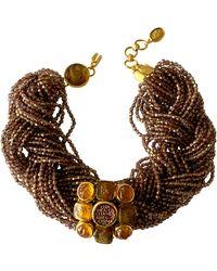 Chanel Vintage Beaded Multi Strand Gold Intaglio Statement Necklace - Metallic