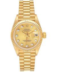Rolex President Datejust Gold Diamond Ladies Watch 69178 - Yellow