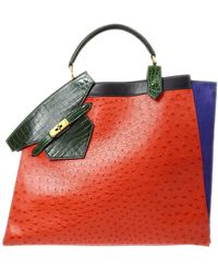 Hermès Hermes Rare Green Ostrich Crocodile Suede Exotic Top Handle Travel Tote Bag - Red