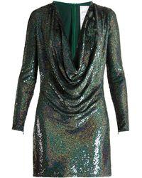 Ashish Sequin-embellished Draped-front Silk Mini Dress - Black