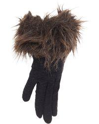 Yohji Yamamoto Washed Wool Brown Faux Fur Trimmed Winter Gloves - Black