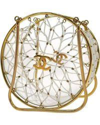 Chanel Minaudire Ultra Rare 1990 Beaded Gold Transparent Circle Micro Mini Bag - Natural