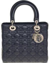 Dior Lady Dior Medium Size Handbag In Navy Cannage Leather, Phw - Blue