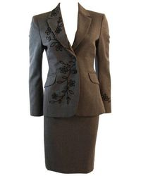 Moschino Cheap And Chic Wool Skirt Suit With Lady Bug Floral Motif Size 4 - Black