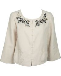 Robert Rodriguez Rose Peach Linen Jacket W/ Stone Embellished Detail - 10 - Red