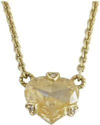 Judith Ripka 18k Gold Canary Quartz Heart And Diamond Necklace - Metallic