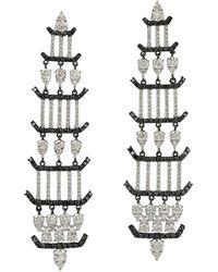 Meghna Jewels 1.64 Carat 18 Karat Gold Diamond Chandelier Earrings - Metallic
