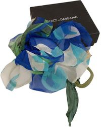 Dolce & Gabbana Chiffon Silk Flower Brooch Pin - Blue