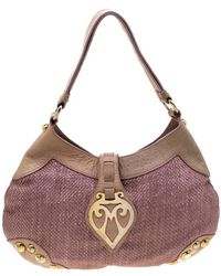 Moschino Pink/beige Jute And Leather Hobo - Brown