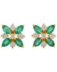 Meghna Jewels 1.5 Carat Emerald Diamond 18 Karat Gold Flower Stud Earrings - Green