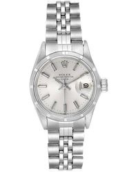 Rolex Date Silver Baton Dial Automatic Steel Ladies Watch 6519 - Metallic