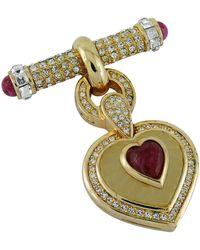 Dior Vintage Diamante And Ruby Heart Dangle Brooch - Metallic