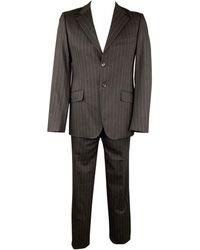 Moschino Size 42 Regular Stripe Wool Blend Notch Lapel Suit - Black