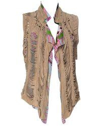 Roberto Cavalli Multicolor Printed Silk And Beige Suede Overlay Sleeveless Vest - Brown