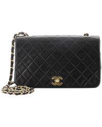 Chanel Vintage Full Flap Bag Quilted Lambskin Medium - Black