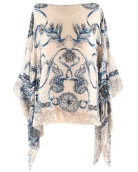 Roberto Cavalli And Blue Sea Print Poncho Kaftan - White