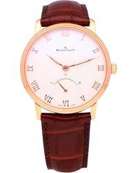 Blancpain Pre-owned Villeret 18 Karat Rose Gold 6653q-3642-55a Watch - Red