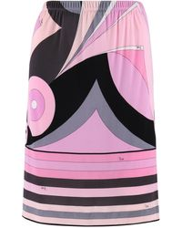 Emilio Pucci C.2000s Multicolor Geometric Striped Motif Silk Jersey Skirt - Pink