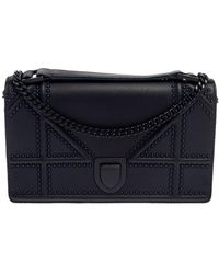 Dior - Dior Navy Ultra Matte Leather Studded Diorama Wallet On Chain - Lyst