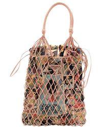 Prada Faux Leather Mesh And Nylon Bucket Bag With Comic Print Slip Bag - Brown