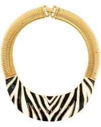 Givenchy Gilt & Enameled Zebra Print Statement Collar Necklace, Signed, 1980s - Multicolor
