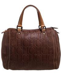 Carolina Herrera - Leather Monogram Embossed Andy Boston Bag - Lyst