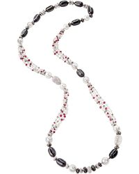 Sabbadini Long Necklace With Pearls, Diamonds And Rubies - Multicolor