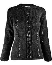 Courreges Courreges Vintage Womens Sequin Cable Knit Sweater - Black