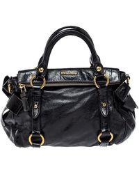 Miu Miu Leather Bow Satchel - Black
