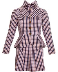 Vivienne Westwood And Blue Checked Cotton Three Piece Skirt Suit, Ss 1994 - Red