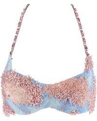 Versace Versace Atelier S/s 1992 & Blue Silk Crystal Beaded Floral Halter Bra Top - Pink