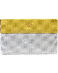 Prada Bi-color Gold Silver Dual Tone Sequin Paillettes Clutch Pouch Purse - Yellow
