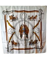 Hermès Hermes Vintage Silk Scarf Equipages By Philippe Ledoux, - Gray