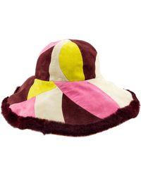 Emilio Pucci - 1990's Suede And Fur Wide Brim Hat - Lyst