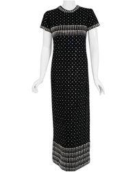 Geoffrey Beene Vintage 1966 Documented Rhinestone Studded Wool Maxi Gown - Black