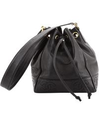 Chanel Vintage Drawstring Cc Bucket Bag Caviar Mini - Black