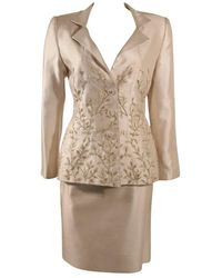 Oscar de la Renta Champagne Silk With Sage Embroidery Skirt Suit Size 10 - Brown