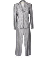 Valentino Pant Suit Gray / Pinstripe Year Round Fabric 42 / 8 - White
