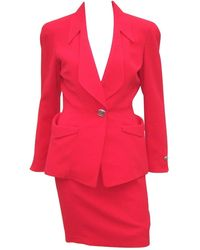Thierry Mugler 1980's Lipstick Suit With Silver Buttons - Red