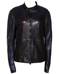 Roberto Cavalli Laser Cut Leather Jacket L - Black