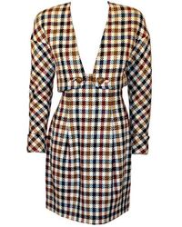 Christian Lacroix 2 Piece Houndstooth Wool Skirt Suit - Natural