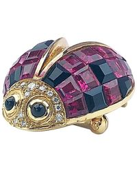 Sabbadini 18 Karat Gold Ladybug Brooch With Tourmaline, Onyx And Diamonds - Pink