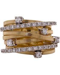Marco Bicego Goa Diamond Seven Row 18 Karat Gold Band Ring - Yellow