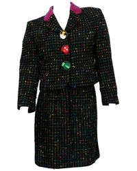 """Moschino Vintage Multicolored Tweed Suit """"push For Nature"""" - Black"""