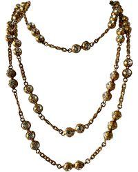 "Chanel Vintage Metal Dore Diamante Statement Necklace ""sautoir"" - Metallic"