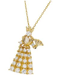 Tasaki 0.63 Carat Diamond 18 Karat Gold Queen Pendant Necklace - Yellow