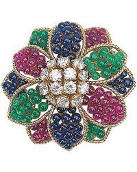 Sabbadini 18 Karat Gold Flower Brooch With Diamonds And Beaded Gem Stones - Yellow