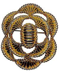 Kenneth Jay Lane K.j. L. Early Egyptian Art Deco Dome Brooch - Metallic