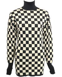 Moschino Vintage Black And Check Pattern Turtleneck Sweater - White